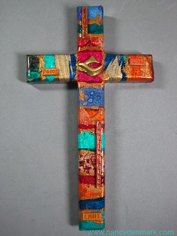 Tapestry of Peace Collage and Symbol Wall Cross by Nancy Denmark