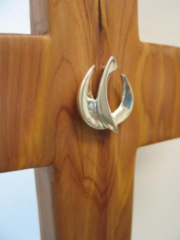 cedar cross silver descending dove written reflection Mel Ahlborn, Margaret Bailey, Nancy Denmark