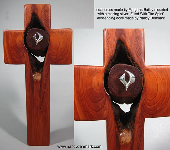 cedar cross with sterling descending dove symbol, a collaboration of wood artist Margaret Bailey & jewelry artist Nancy Denmark