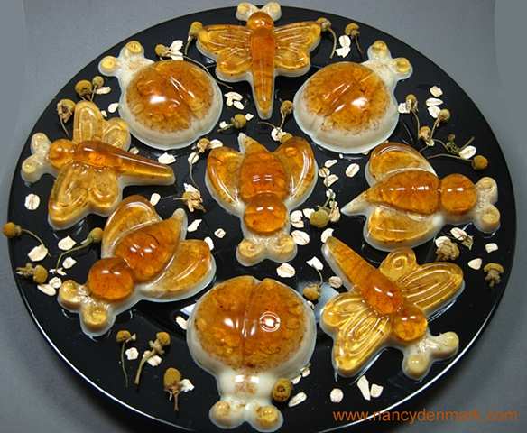 bug shapes of honey oatmeal soaps handcrafted by Nancy Denmark