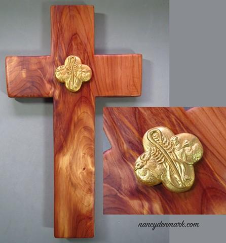 collaborative cedar cross by Margaret Bailey with Nancy Denmark's Feed My Sheep symbol