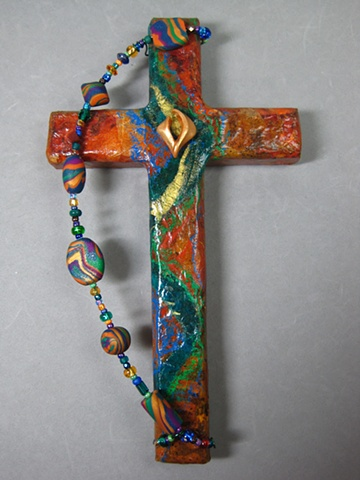 polymer clay descending dove on collage wall cross