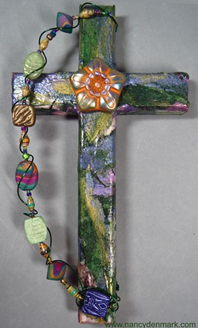 collage and Rose Of Sharon wall cross made by Nancy Denmark