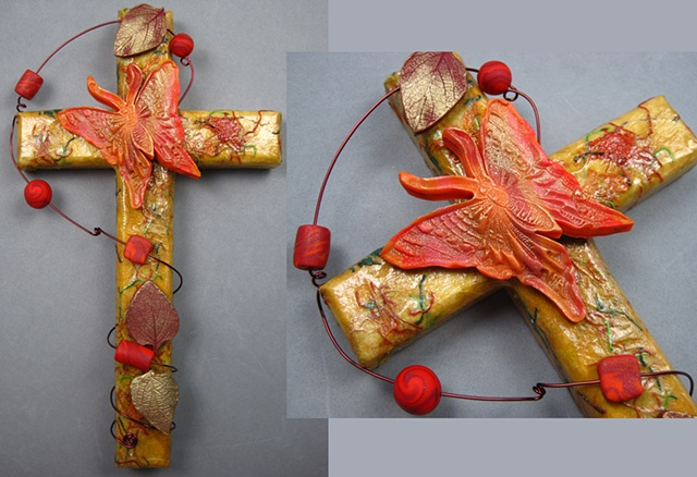 wood collage wall cross with polymer butterfly & leaves Nancy Denmark Patti Smith