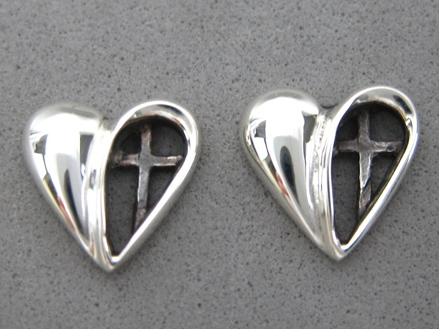 sterling heart with cross post earrings by ©Nancy Denmark