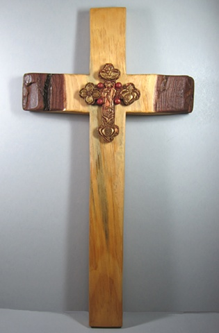 GOOD SHEPHERD BUDDED CROSS  POLYMER CLAY ON PINE CROSS FULL VIEW