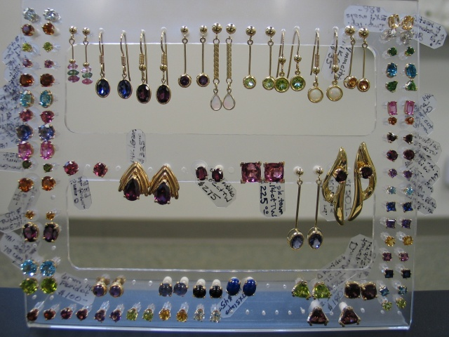 14K gold and gemstone earrings