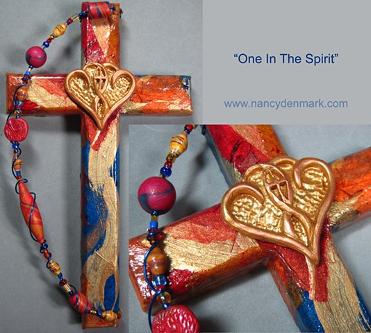 one in the spirit collage cross made by Nancy Denmark