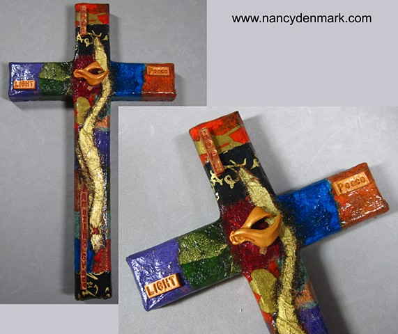 Tapestry collage and symbol wall cross made by Nancy Denmark & Patti Reed