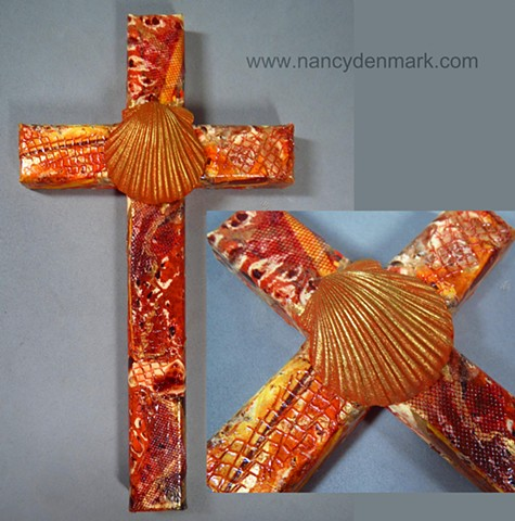 Baptismal scallop shell on collage wall cross made by Nancy Denmark