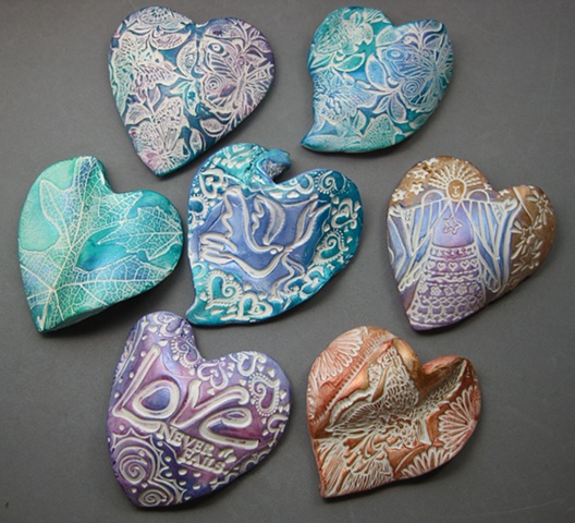 7 TEXTURED HAND HEARTS MADE TO ORDER