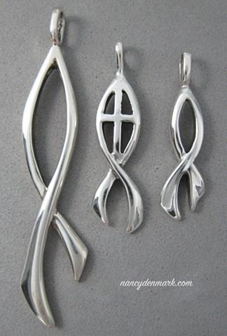 sterling silver ichthus Christian fish jewelry designs by Nancy Denmark