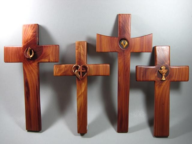4 CEDAR CROSSES WITH  POLYMER CLAY SYMBOLS