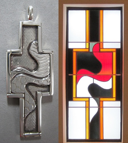 sterling silver pectoral cross design inspired by Epiphany side windows
