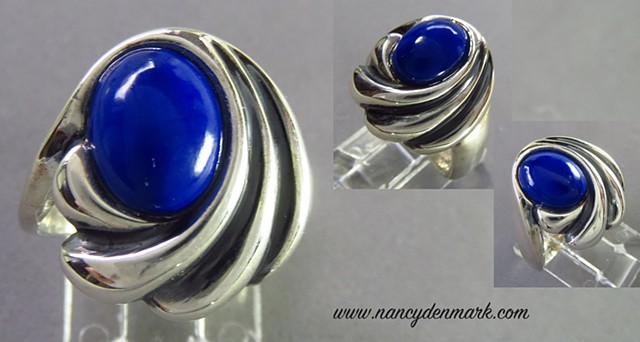 sterling silver ring with lapis ©Nancy Denmark