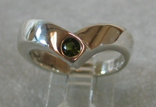 STERLING RING WITH GREEN TOURMALINE