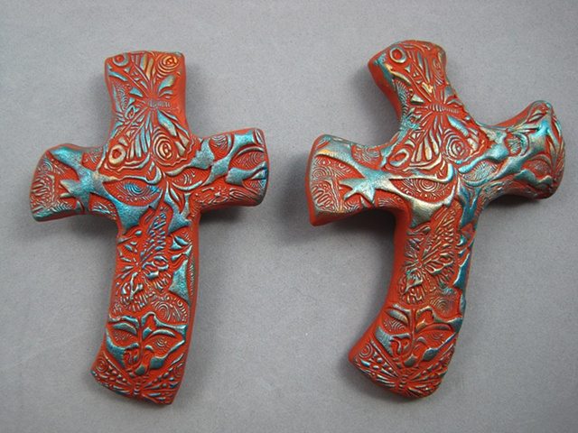 polymer clay hand crosses with detailed stamping