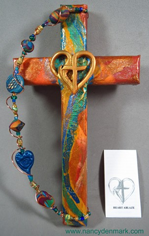 Cross & Flame Wall cross made by Nancy Denmark