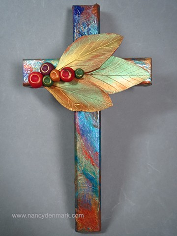 Trinity of Leaves on Collage Wall Cross by Nancy Denmark
