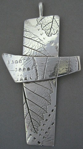"sterling silver ""Impressions of Nature"" pectoral cross made by Nancy Denmark"
