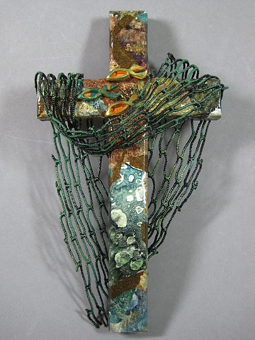 cast your nets themed collage wall cross by Nancy Denmark