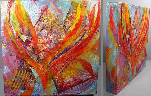 descending flames of faith mixed media on canvas ©Nancy Denmark