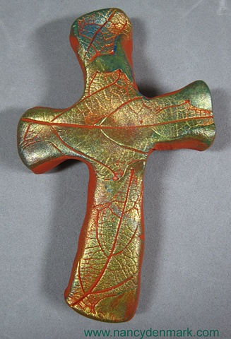 hand cross with leaf impression by Nancy Denmark