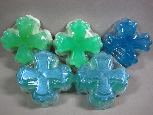 handcrafted soap by Nancy Denmark in cross shapes