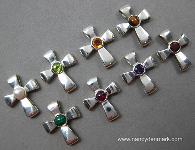 sterling silver Gift of God ribbon crosses with gemstones © Nancy Denmark