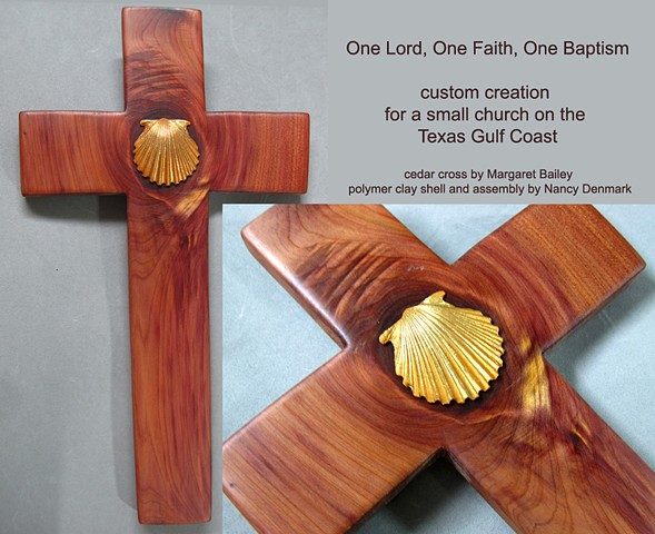 Cedar cross with polymer clay shell made by Nancy Denmark and Margaret Bailey
