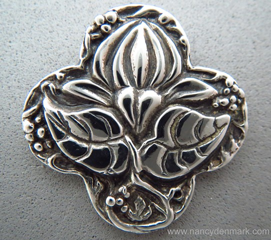 sterling silver quatrefoil cross pendant with lotus ©Nancy Denmark