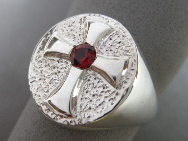 sterling silver Alard Cross Ring with garnet © Nancy Denmark