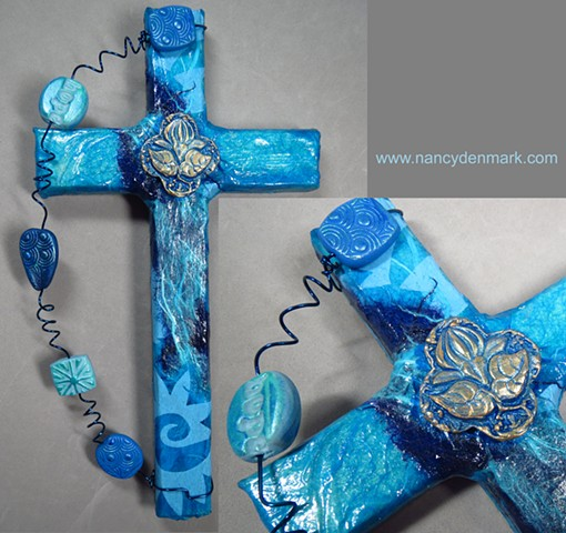 Lotus Quatrefoil on Collage Cross by Nancy Denmark and Patti Reed