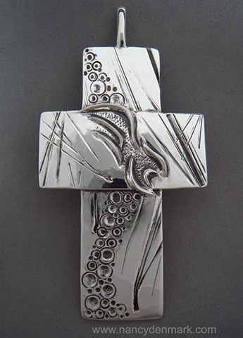 """""""On Eagle's Wings"""" sterling pectoral cross © Nancy Denmark"""