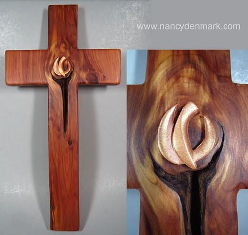 cedar cross made by Margaret Bailey with descending dove design by Nancy Denmark