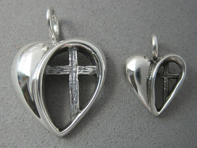 heart with cross silver pendant © Nancy Denmark