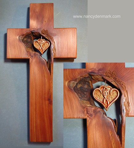 One In The Spirit symbol by Nancy Denmark in cedar cross by Margaret Bailey