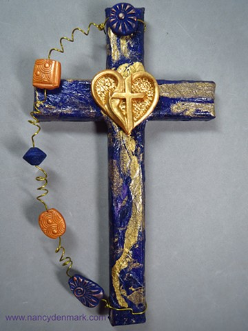 heart cross with flame wall cross by Nancy Denmark and Patti Reed