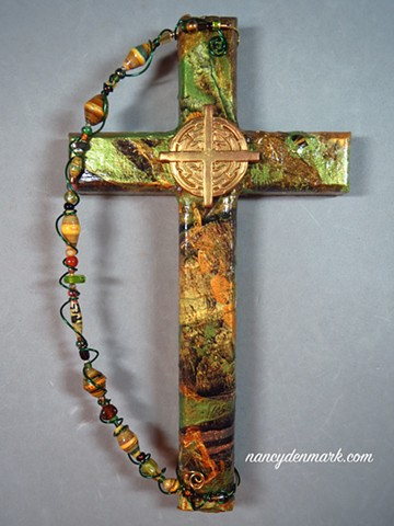 collage wall cross with Spirit Flow symbol ©NancyDenmark