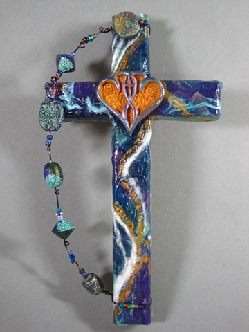 collage cross for wall with christian symbol by Nancy Denmark Patti Reed