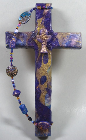 BREAD OF THE WORLD, WINE OF THE SOUL COLLAGE CROSS (PURPLE)