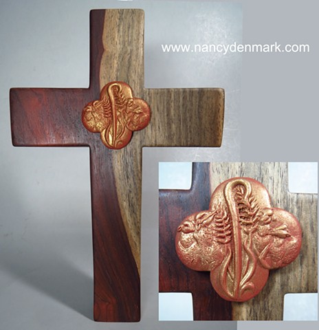 Cocobolo wood cross by Margaret Bailey with Feed My Sheep quatrefoil symbol by Nancy Denmark