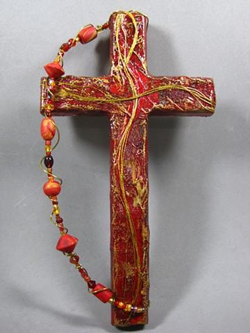 Chi-Rho/ Christ figure on collage wall cross by Nancy Denmark & Patti Reed