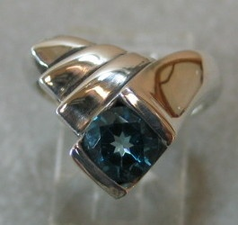 BLUE TOPAZ IN STERLING RING VIEW 1
