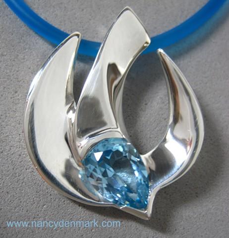 sterling silver descending dove pendant with blue topaz © Nancy Denmark