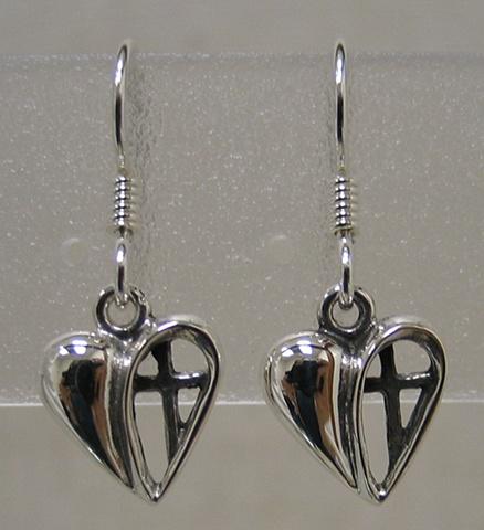 heart with cross sterling earrings by Nancy Denmark