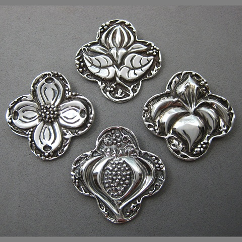 botanical symbols in quatrefoil pendants sterling silver © Nancy Denmark