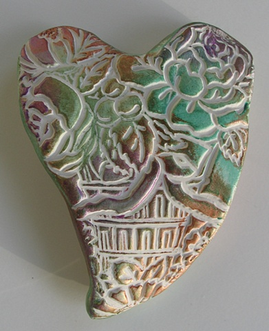 HAND HEART WITH FLORAL IMPRESSIONS