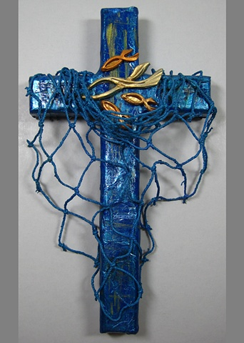"collage wall cross with ""cast your nets"" symbolism by Patti Reed & Nancy Denmark"