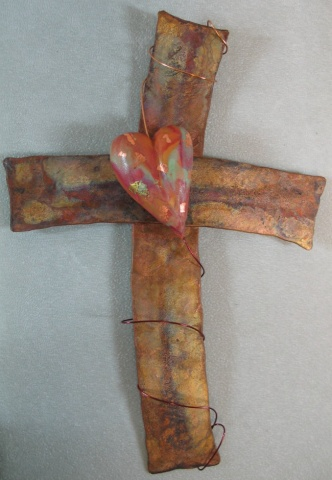 COPPER AND CLAY CROSS W/ HEART (SOLD)